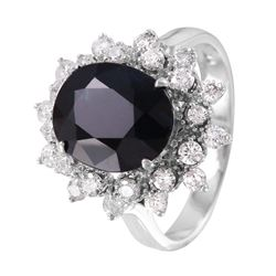 14KT White Gold Sapphire and Diamond Ring - #1476