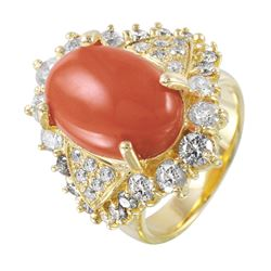 14KT Yellow Gold Coral and Diamond Ring - #1472