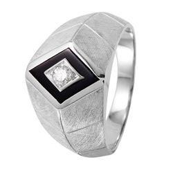 14KT White Gold Mens Onyx and Diamond Ring - #1162