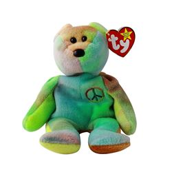 Discontinued TY Beanie Baby Multi-Colored PEACE BEAR: 1996 - #1661