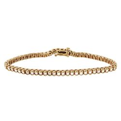 14KT Yellow Gold Diamond Tennis Bracelet - #1188