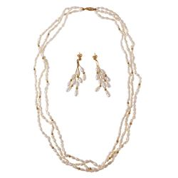 14KT Yellow Gold Pearl Necklace and Earrings - #236