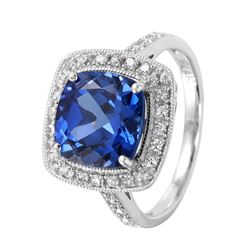 14KT White Gold Tanzanite and Diamond Ring - #28