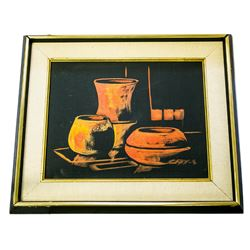 Dutch-German Artist Cay Schoodt Framed Two Bowls and Vase Oil on Canvas Circa 1930's - #1747