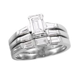 14KT White Gold Diamond Ring and Two Wedding Bands - #732