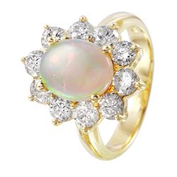14KT Yellow Gold Opal and Diamond Ring - #1363