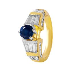 14KT Yellow Gold Sapphire and Diamond Ring - #124