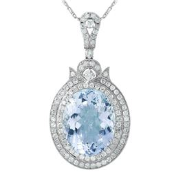 14KT White Gold Aquamarine and Diamond Pendant and Chain - #1547