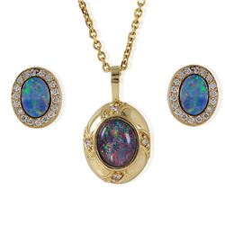 14KT Yellow Gold Diamond and Opal Necklace and Earrings - #100