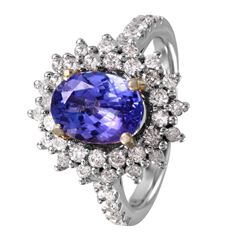 14KT White and Yellow Gold Tanzanite and Diamond Ring - #1485