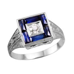 20KT White Gold Mens Sapphire and Diamond Ring - #1677