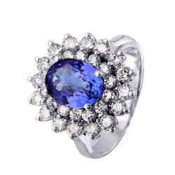 14KT White Gold Tanzanite and Diamond Ring - #67