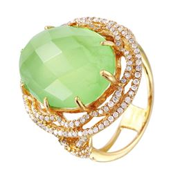 14KT Yellow Gold Tourmaline and Diamond Ring - #1477