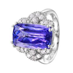 14KT White Gold Tanzanite and Diamond Ring - #1546