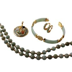 14KT Yellow Gold Jade Matching Necklace, Bracelet, Pendant and Hoop Earrings - #965