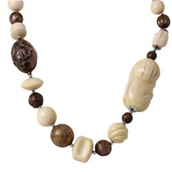 Antique Chinese Carved Okimono NetsukeSilver Graduated Bead Necklace - #1246