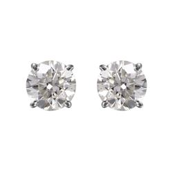 14KT White Gold Diamond Stud Earrings - #1711