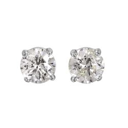 14KT White Gold Diamond Stud Earrings - #1648