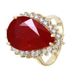 14KT Yellow Gold Ruby and Diamond Ring - #1514