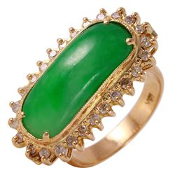 18KT Yellow Gold Jadeite and Diamond Ring - #27