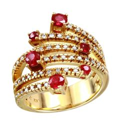 14KT Yellow Gold Ruby and Diamond Ring - #2086-2
