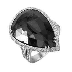 Fancy Black and White Diamond 18KT White Gold Removable Pendant and Ring Set - #1735