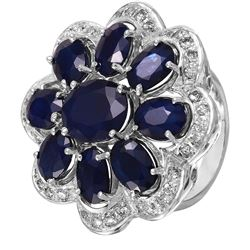 14KT White Gold Sapphire and Diamond Ring - #1529
