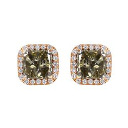 18KT Rose and Yellow Gold Diamond Stud Earrings - #1644