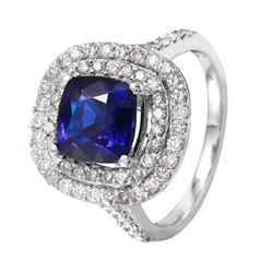 14KT White Gold Sapphire and Diamond Ring - #1516
