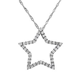 14KT White Gold Open Star Pendant and Lace Link Chain Necklace Set - #150