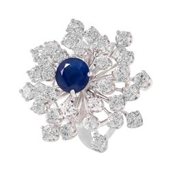 14KT White Gold Sapphire and Diamond Ring - #115