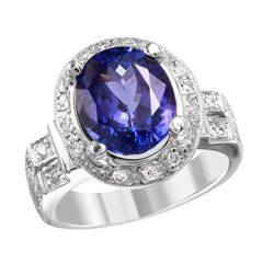 NEW 18KT White Gold Tanzanite and Diamond Ring - #2003