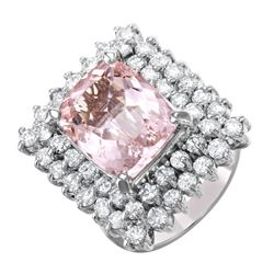 14KT White Gold Morganite and Diamond Ring - #1494