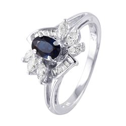 14KT White Gold Sapphire and Diamond Ring - #1013
