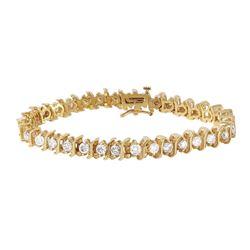 14KT Yellow Gold Diamond Tennis Bracelet - #1186