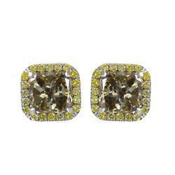 18KT White Gold Diamond Stud Earrings - #1577