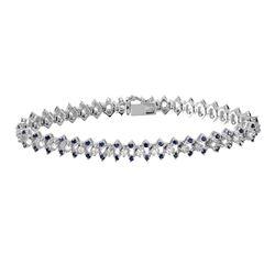 14KT White Gold Sapphire and Diamond Bracelet - #2013