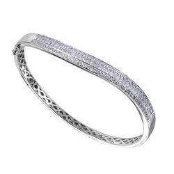 14KT White Gold Diamond Bangle Bracelet - #2012-8