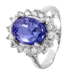 14KT White Gold Tanzanite and Diamond Ring - #1524