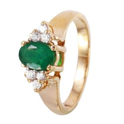 14KT Yellow Gold Ladies Emerald and Diamond Ring - #1093
