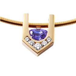 14KT Yellow Gold Tanzanite and Diamond Pendant Necklace - #1229