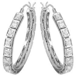 14KT White Gold Diamond Hoop Earrings - #274