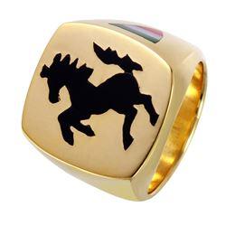 Gent's Ferrari Design Black Antiqued Symbol and Enamel Flag Detail 18KT Yellow Gold Custom Made Ring