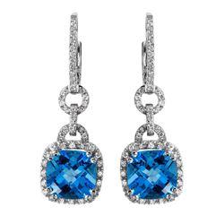 14KT White Gold Topaz and Diamond Earrings - #2087-6