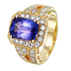 14KT Yellow Gold Tanzanite and Diamond Ring - #1526