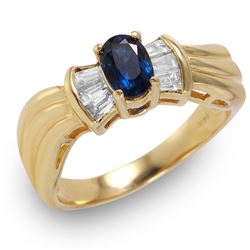 14KT Yellow Gold Sapphire and Diamond Ring - #225