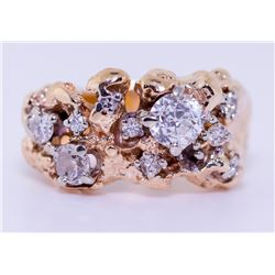 14KT Yellow Gold Diamond Nugget Ring - #1323A