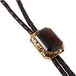 14KT Yellow Gold Smoky Topaz Leather Vintage Bolo Tie - #1212
