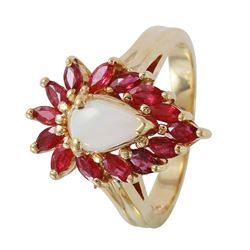 14KT Yellow Gold Vintage Opal and Ruby Ladies Ring - #1146