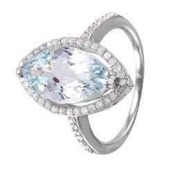 14KT White Gold Aquamarine and Diamond Ring - #1343